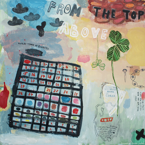 from the top , mixed media on panel, 10 in. x 10 in., 2012