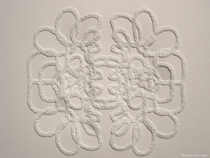Reflecting series: patterning the moments, growing together , pinholes on grey paper, 2006