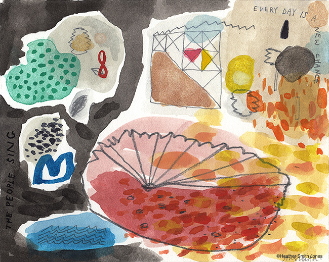 Every day is a new chance , graphite, watercolor, gouache on paper, image size 4 x 5 in., paper size 7 x 9 in., 2014.