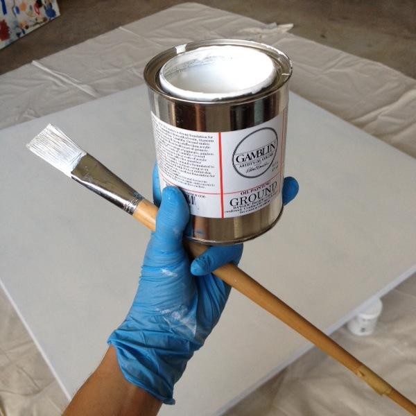 Oil based primer, for some big canvases.