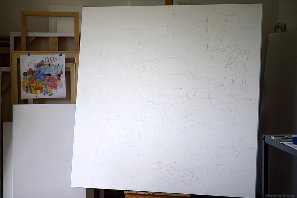 Transferring the drawing to the canvas, using a grid. Old school methods still work.