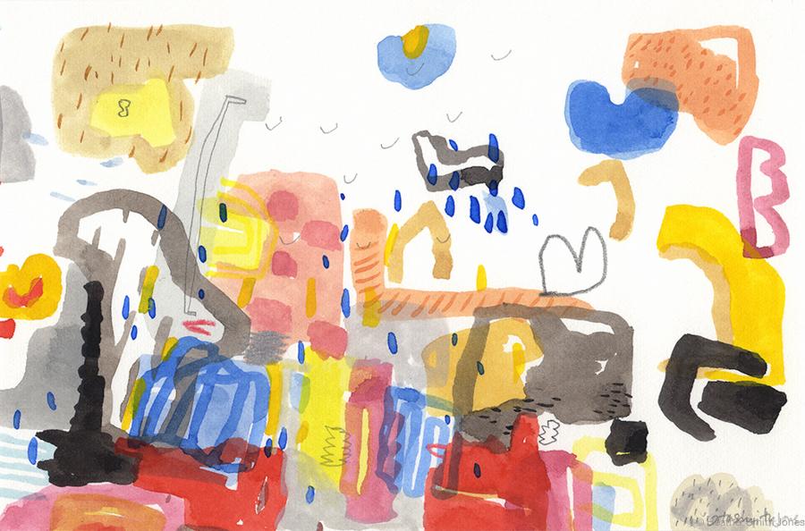 Remain,  graphite, watercolor, gouache, c. pencil on paper, 4 in. x 6 in.
