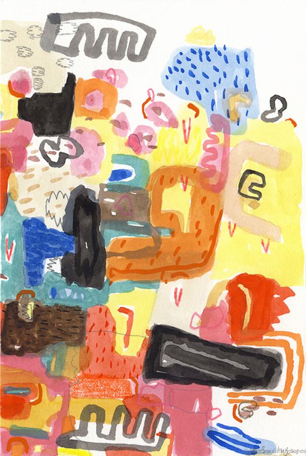 Three Imaginary Boys,  graphite, watercolor, gouache, c. pencil on paper, 4 in. x 6 in.