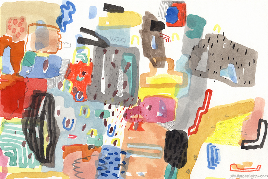 Tell Mama,  graphite, watercolor, gouache, c. pencil on paper, 4 in. x 6 in.