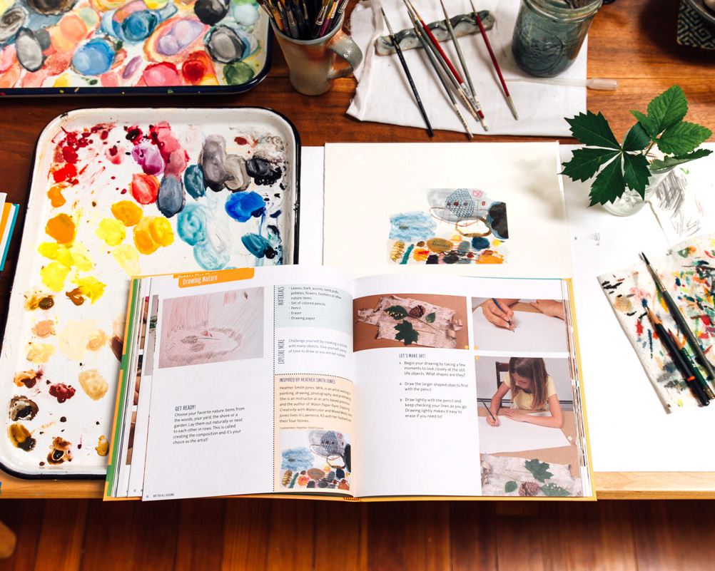 """A spread of the Drawing Nature project in Susan Schwake's book  Art For All Seasons , with my work as """"inspiration""""."""