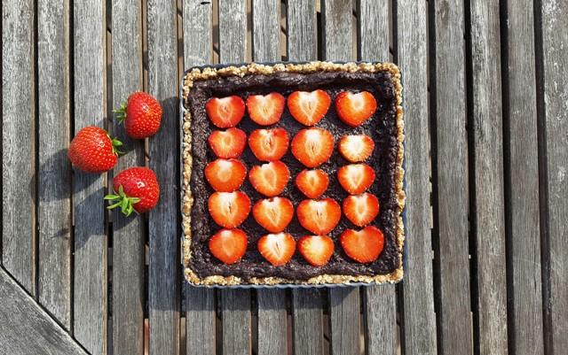 Raw jordbærtætte