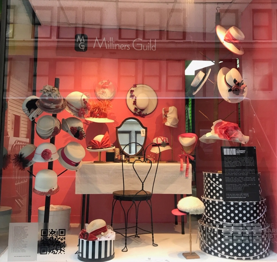 Perfect for the change of season, the Milliners Guild's hat-maker's window showcases fall hats designed by 24 members.