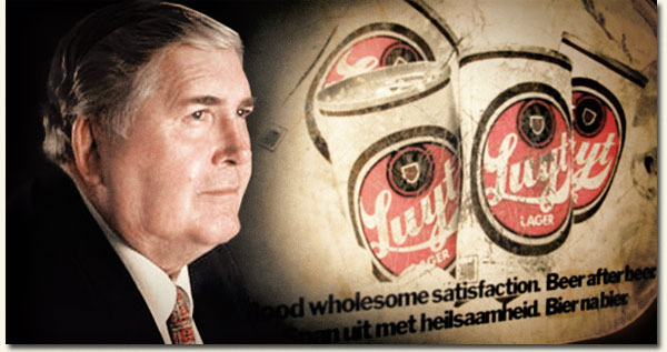 Dr Louis Luyt in front of a Luyt Lager Billboard / Sport24 BidorBuy