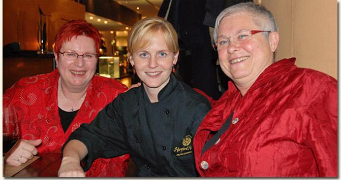 Jackie Cameron with Gabi Kirschke and her friend Monika from Berlin