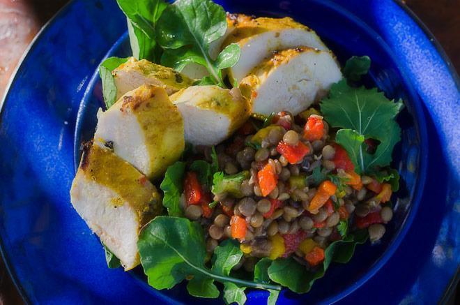 Diabetic Grilled Chicken and Lentil Salad