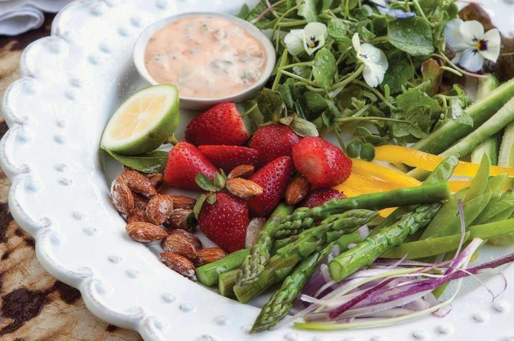 Asparagus and Strawberry Salad with Chilli Line Dressing / Brookdale Health Hydro (p)