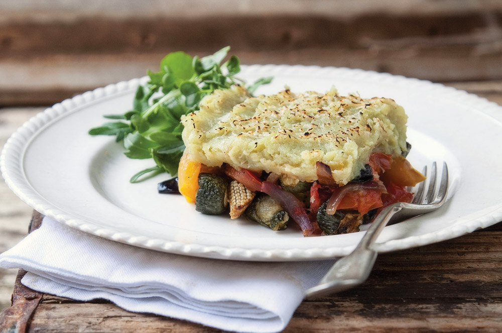 Roasted Vegetable Cottage Pie with Sweet Potato Mash