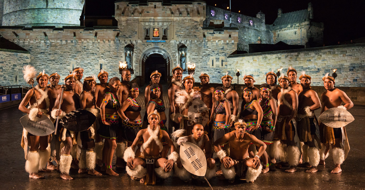 Hartford's Zulu Dance troupe, the Ngombamakhosi, took to the streets of Edinburgh and Glasgow in Scotland during their performance at the Royal Edinburgh Military Tattoo / REMT (p)