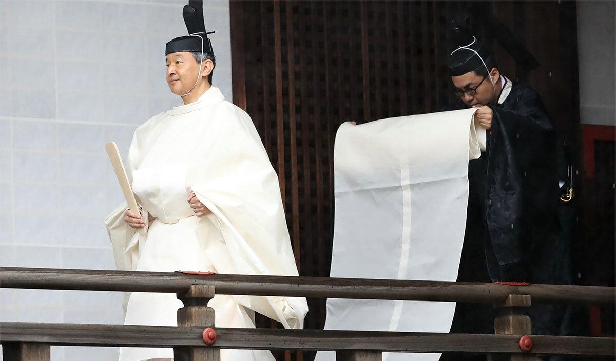 Japan's Emperor Naruhito STR/JAPAN POOL VIA JIJI PRESS/AFP VIA GETTY IMAGES