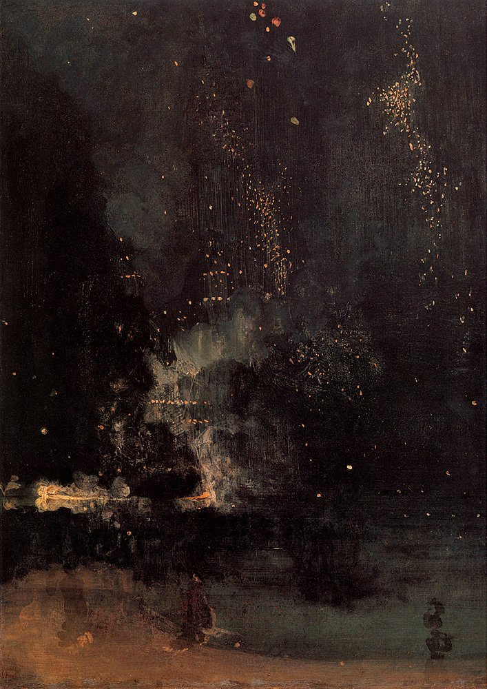 James Abbott McNeill Whistler   Nocturne in Black and Gold – The Falling Rocket , 1877  via awelltraveledwoman.tumblr.com