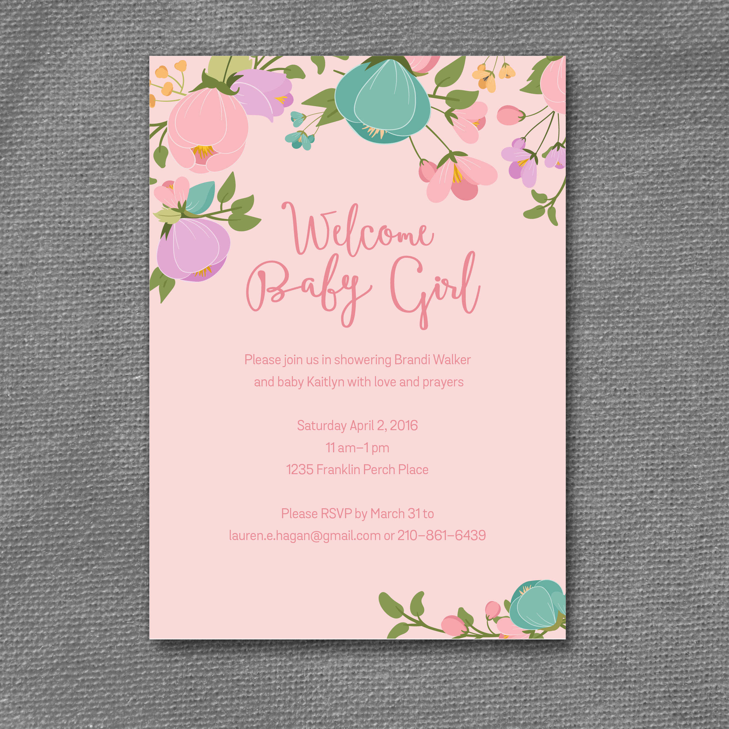 floral pink baby shower invitation