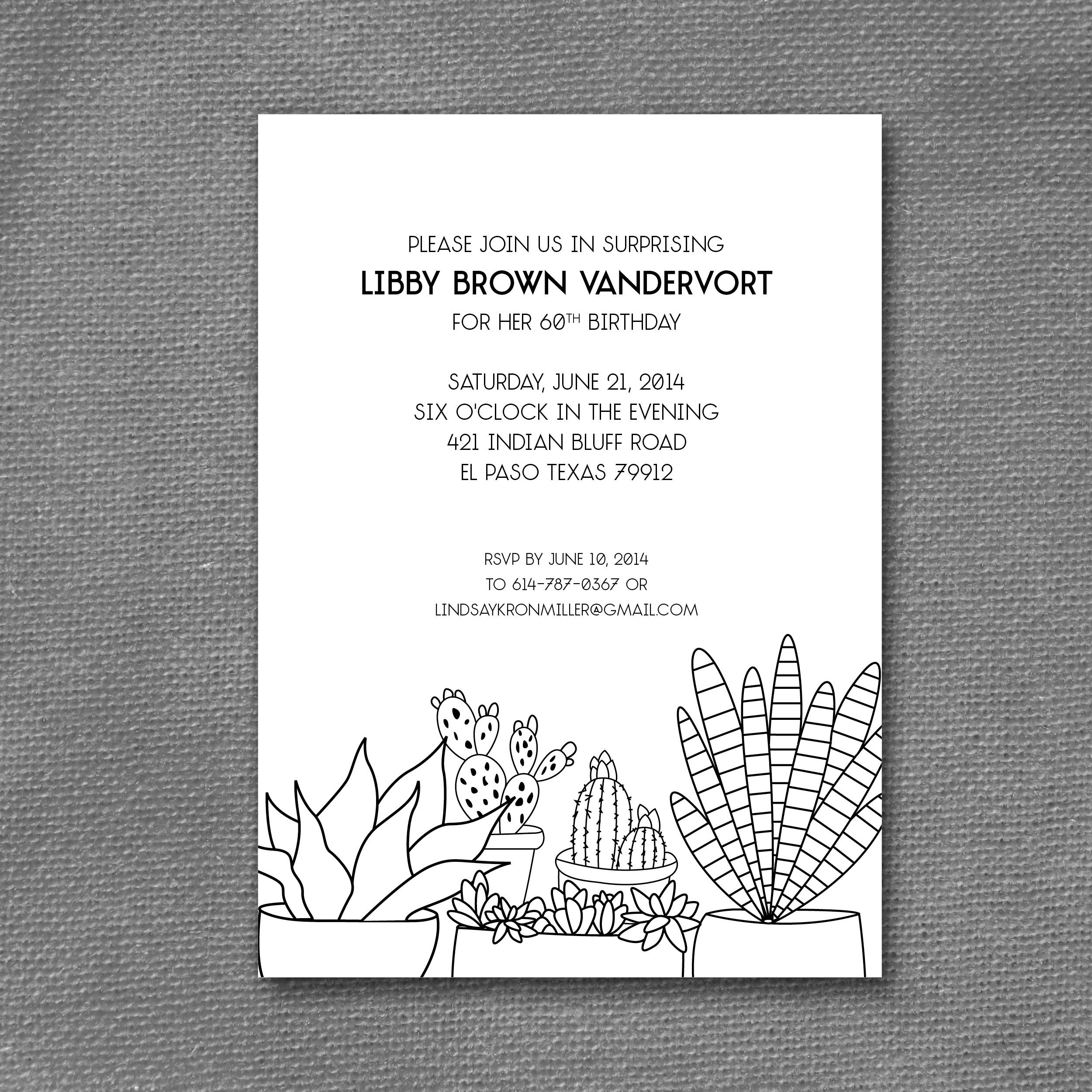black and white succulent invitation