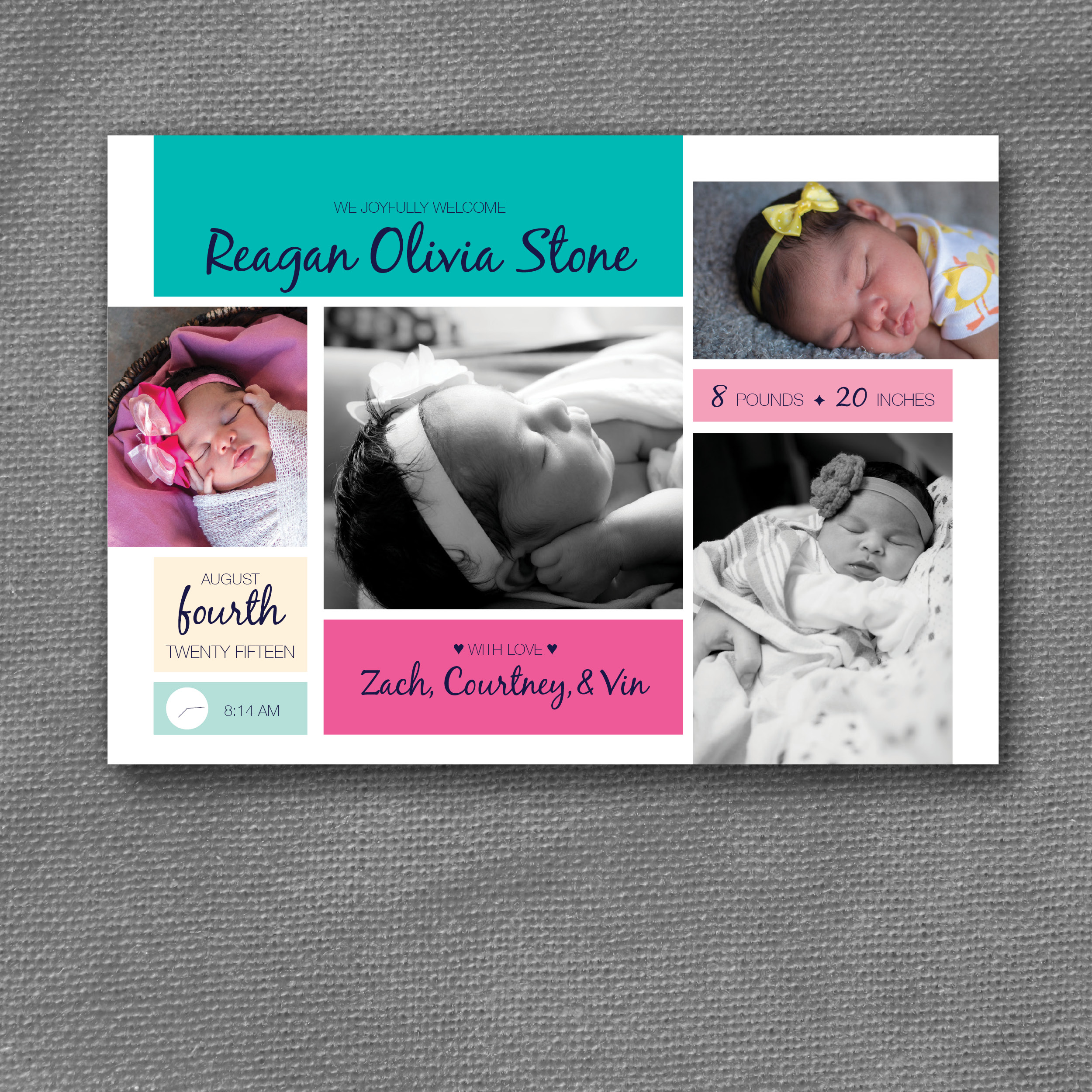 modern color blocks birth announcement