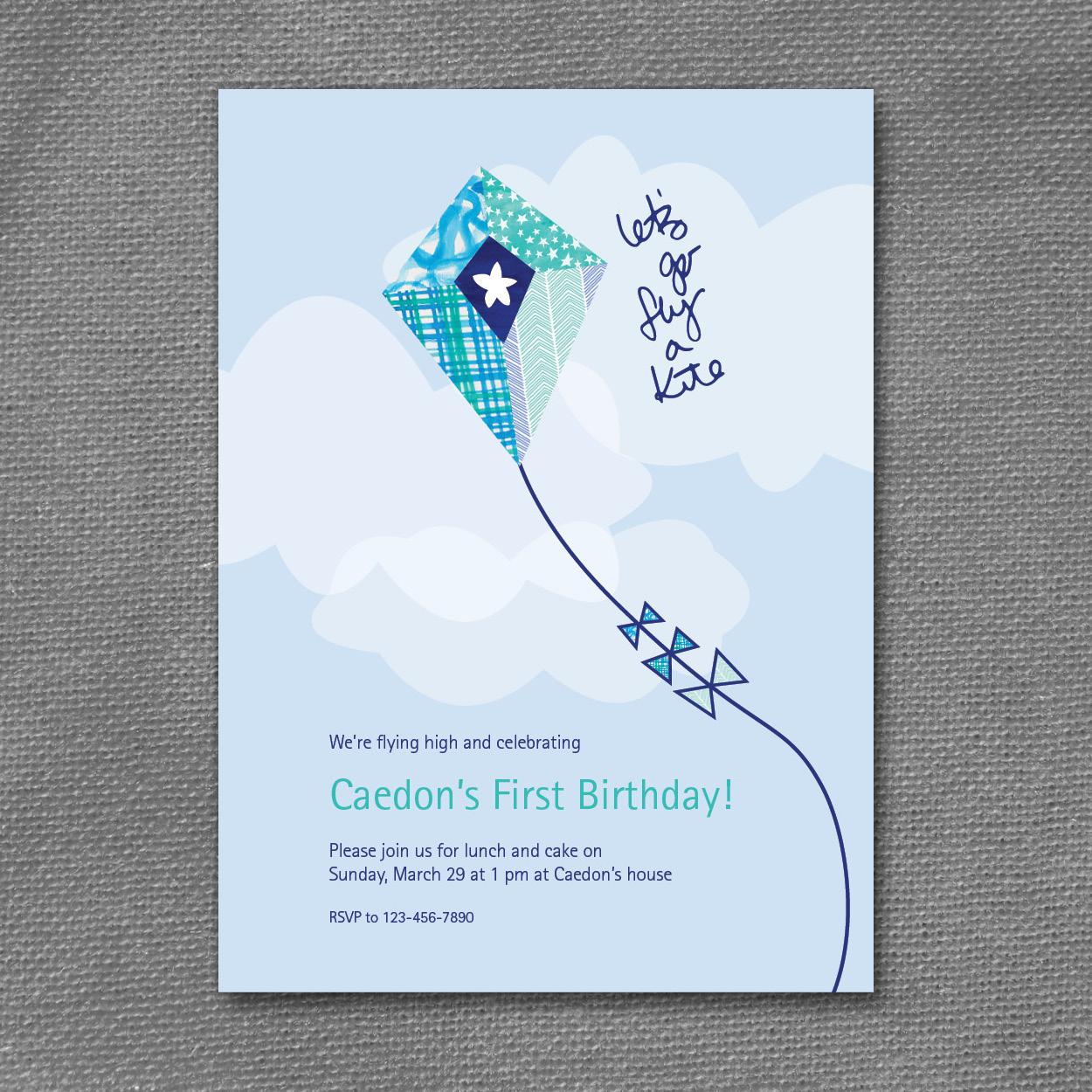 kite patterns birthday invitation