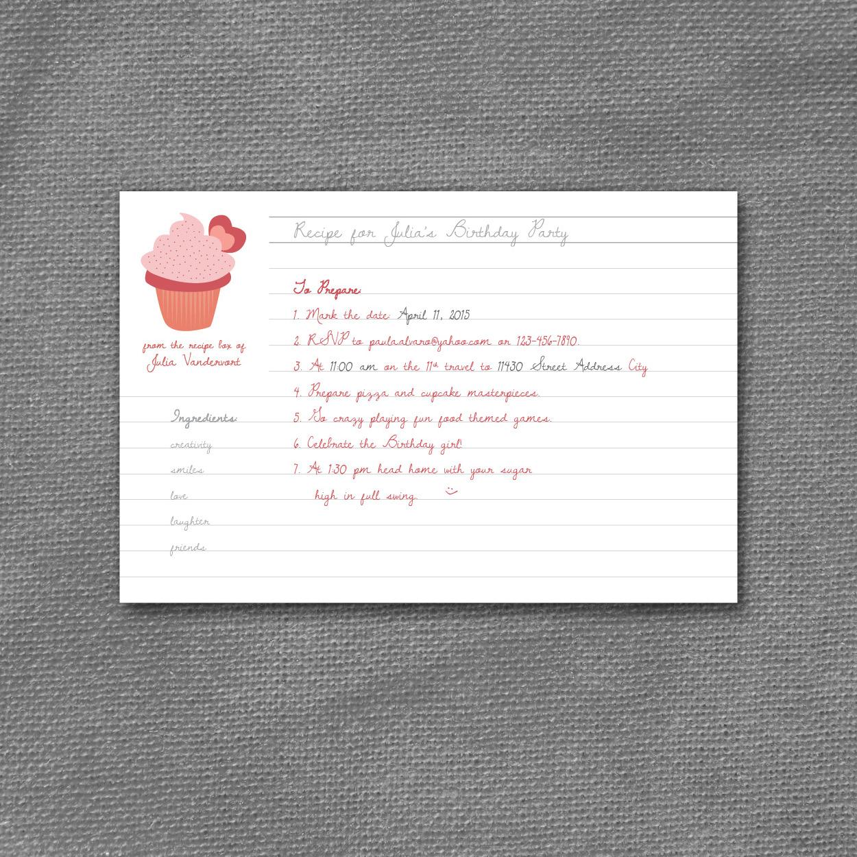 cupcake recipe invitation