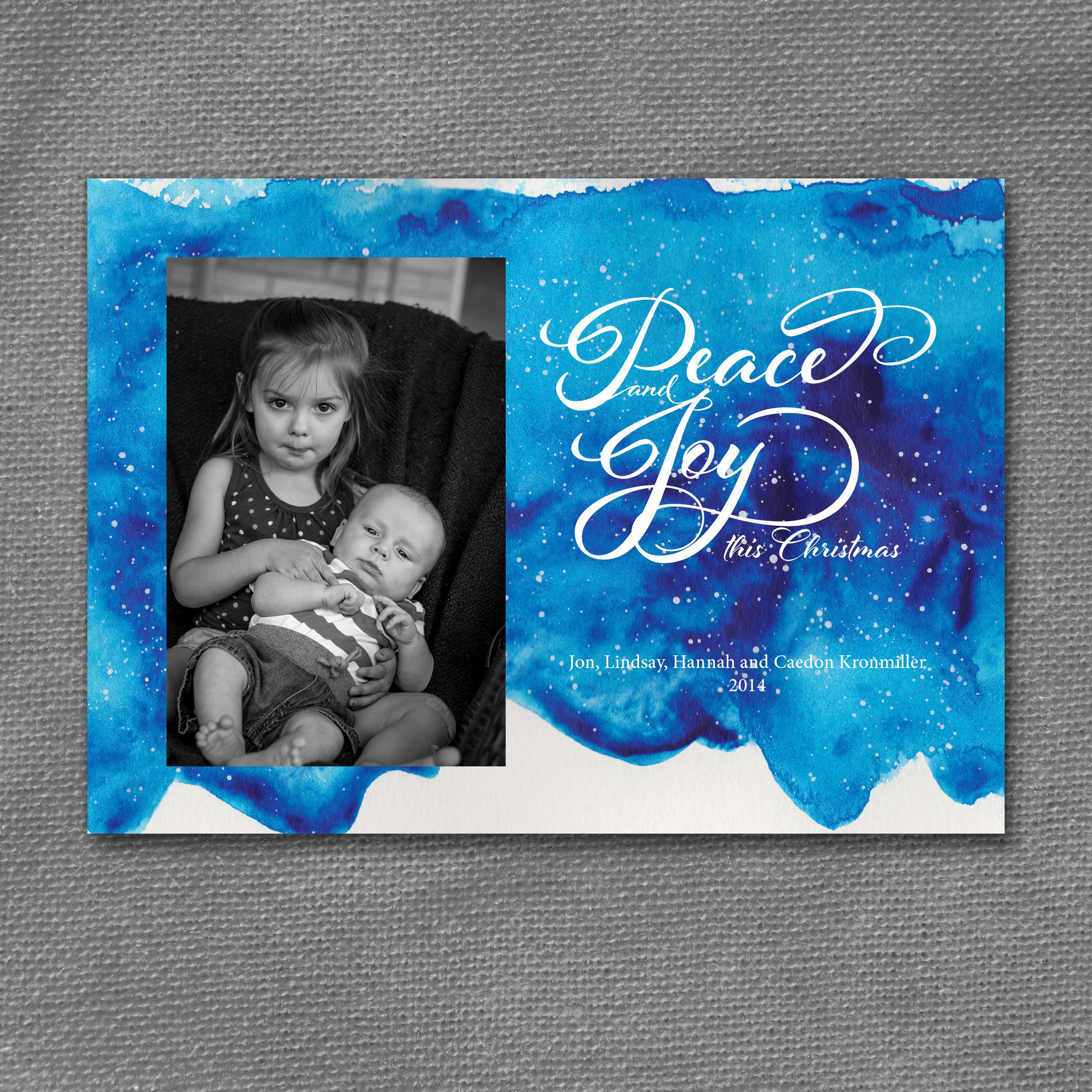 peaceful blue christmas invitation