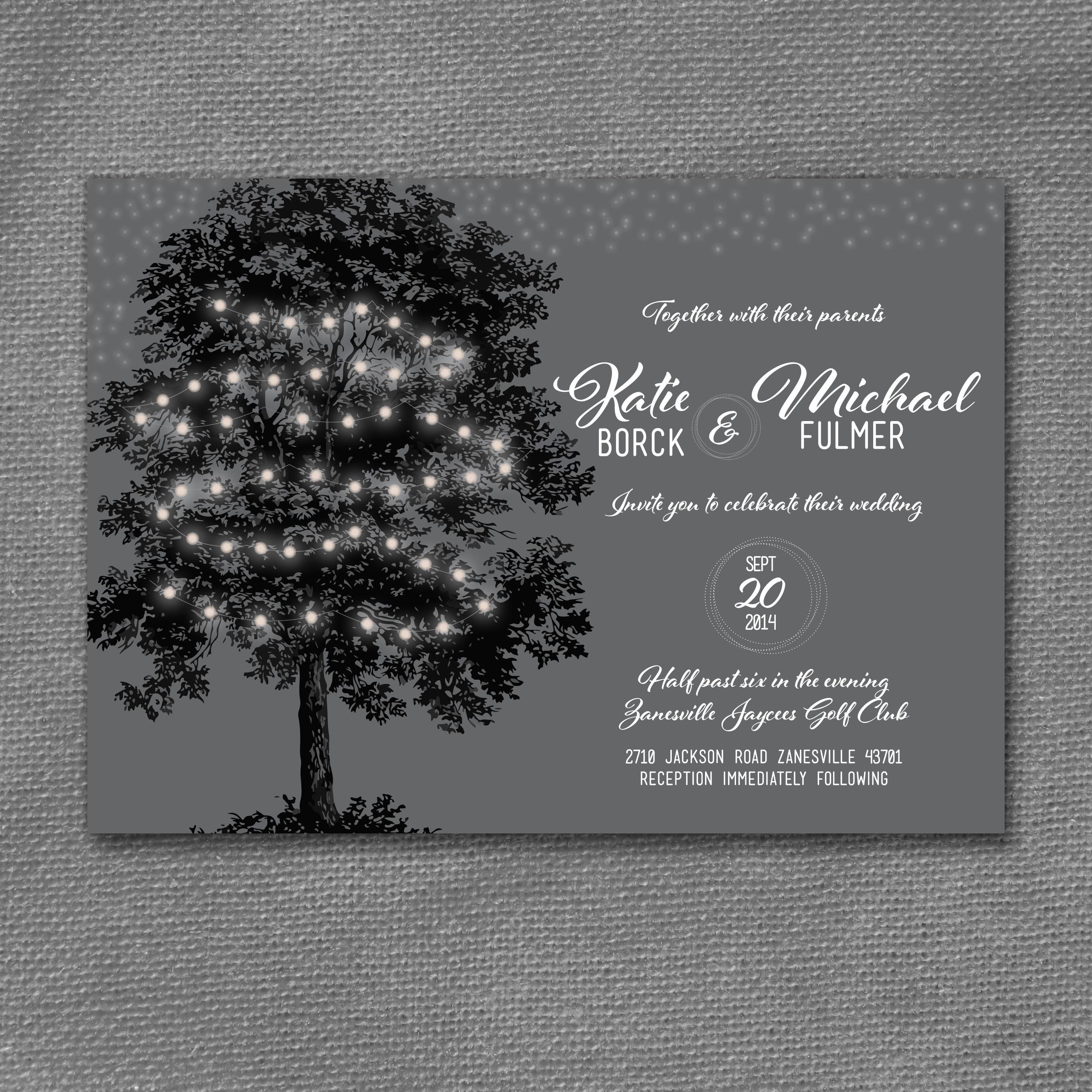 vintage tree lights wedding invitation