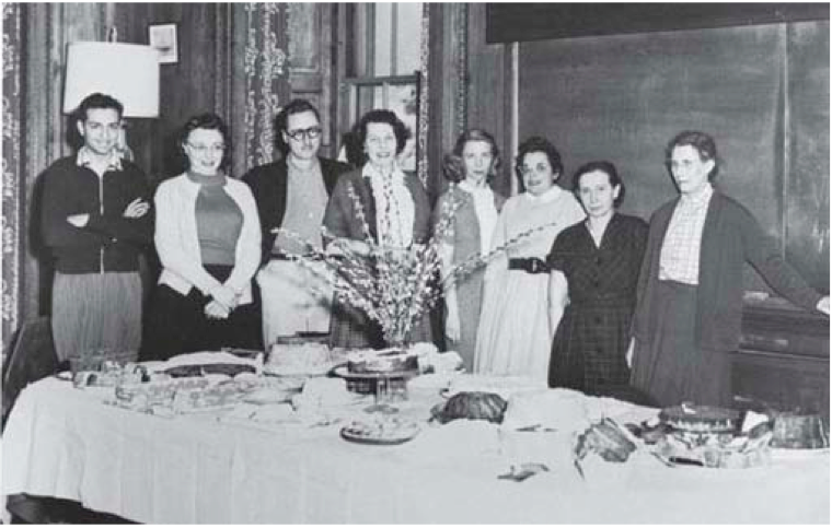 Ruth Simon (third from right) at a going away party for Inge Lehmann (far right). Photo taken at Lamont Hall circa 1954.  Reproduced courtesy of Lamont-Doherty Earth Observatory.