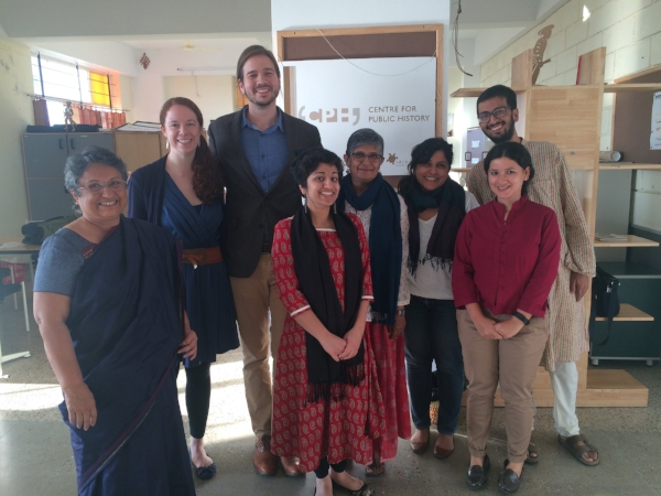 OHMA alums Erica Fugger and Cameron Vanderscoff with Centre for Public History staff and director Indira Chowdhury in Bangaluru, India.