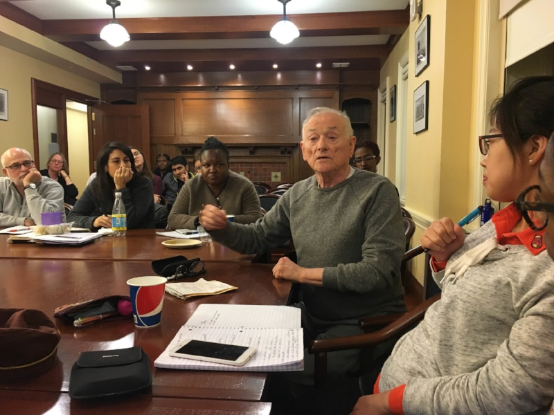 Oral historian Ron Grele (Director Emeritus, Oral History Research Office) engaging in discussion at Jack Tchen's recent OHMA Workshop Series lecture.