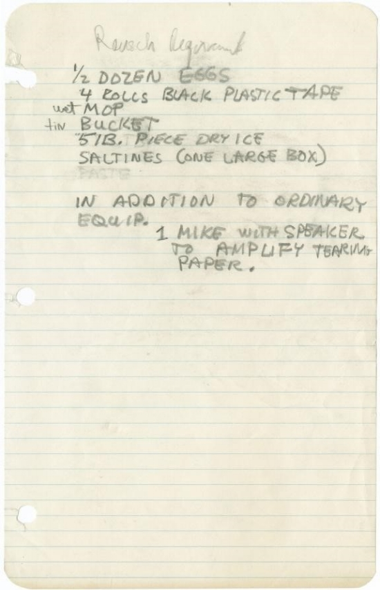 Rauschenberg's handwritten partial prop list for his performance Spring Training, first performed at Judson Dance Theater, Dance Concert II, May 11–13. Photograph Collection. Robert Rauschenberg Foundation Archives