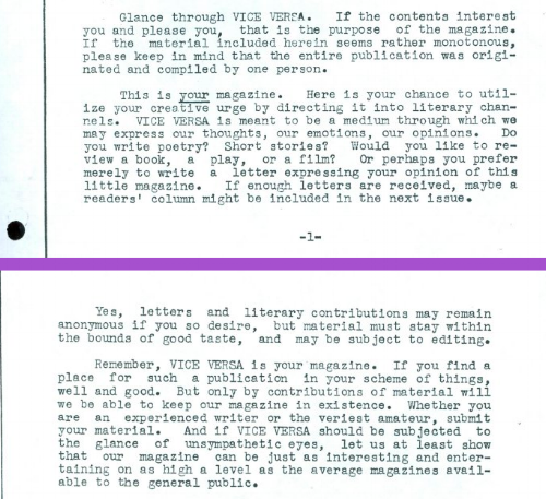 "Lisa Ben, ""In Explanation,""  Vice Versa  1, June 1947.     http://queermusicheritage.com/viceversa1.html"