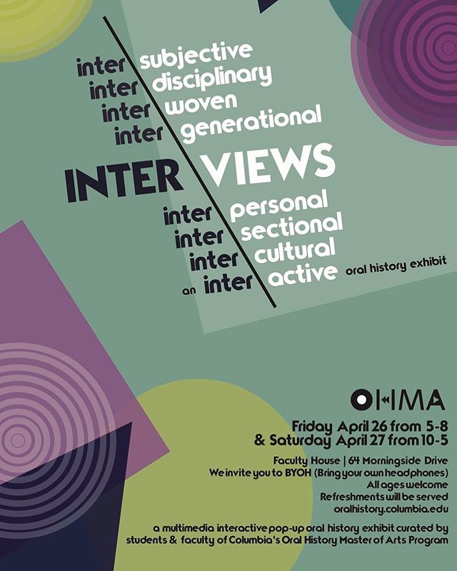 Save the Date for this years Oral History Exhibit! This event is curated by the students and staff of OHMA - keep your eyes peeled for our Eventbrite Page where you can RSVP. Thank you to OHMA student @caroline.cunfer for designing this years poster ✨🎨✨