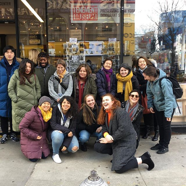 "The struggle of trying to get a picture of us all looking the one way!  The 2018 OHMA Cohort took a field trip to the Tenement Museum for their ""Under One Roof"" tour. Really thought provoking and interesting uses of oral history - worth checking out if you find yourself in the area! . . . #oralhistory #tenement #tenementmuseum"