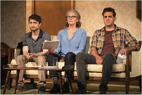 Daniel Radcliffe, Cherry Jones, and Bobby Cannavale star in  The Lifespan of a Fact , directed by Leigh Silverman, at Broadway's Studio 54.  (© Peter Cunningham)