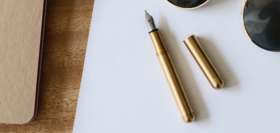 German Brass Fountain Pen - Eva Moon Press journal