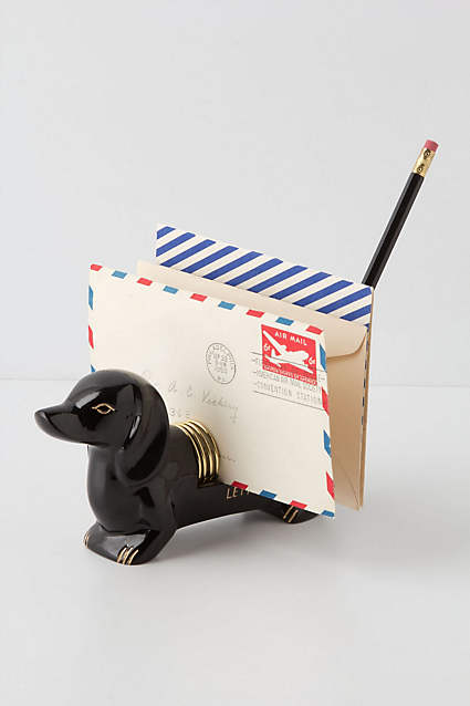 Dachshund Letter Holder -- no longer available from Anthropologie, but is my favorite desk buddy. :)