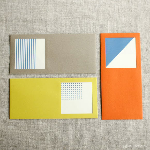 UGUiSU -  Geometric Windowed Envelopes + Cards Set, $7.60 .  Use code EVAMOONPRESS for 10% off this item until December 25th.