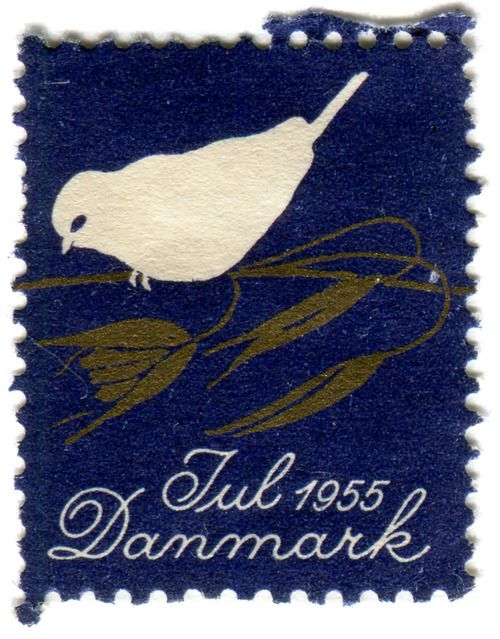 Denmark Christmas seal: bird c. 1955