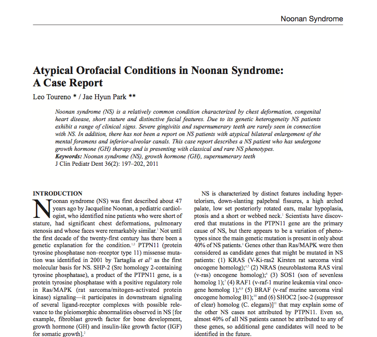 Atypical Orofacial Conditions in Noonan Syndrome: A Case Report