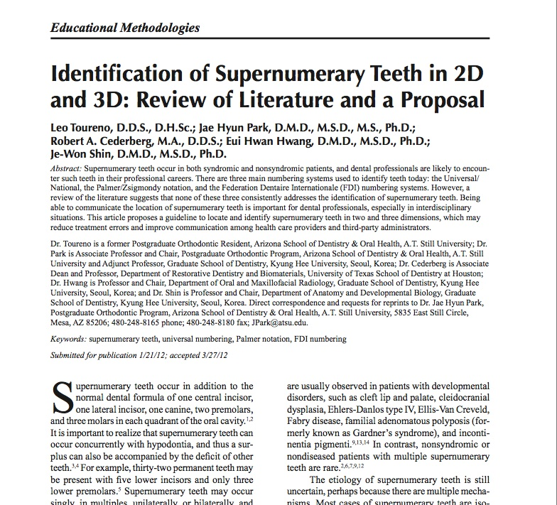 Identification of Supernumerary Teeth in 2D and 3D