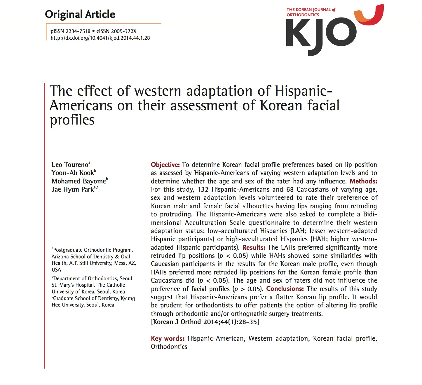 The Effect of Western Adaptation of Hispanic Americans on their Assessment of Korean Facial Profile
