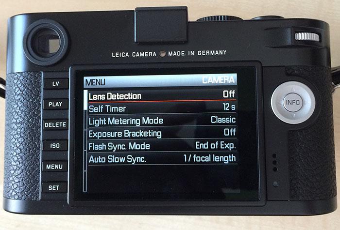 Leica M menu