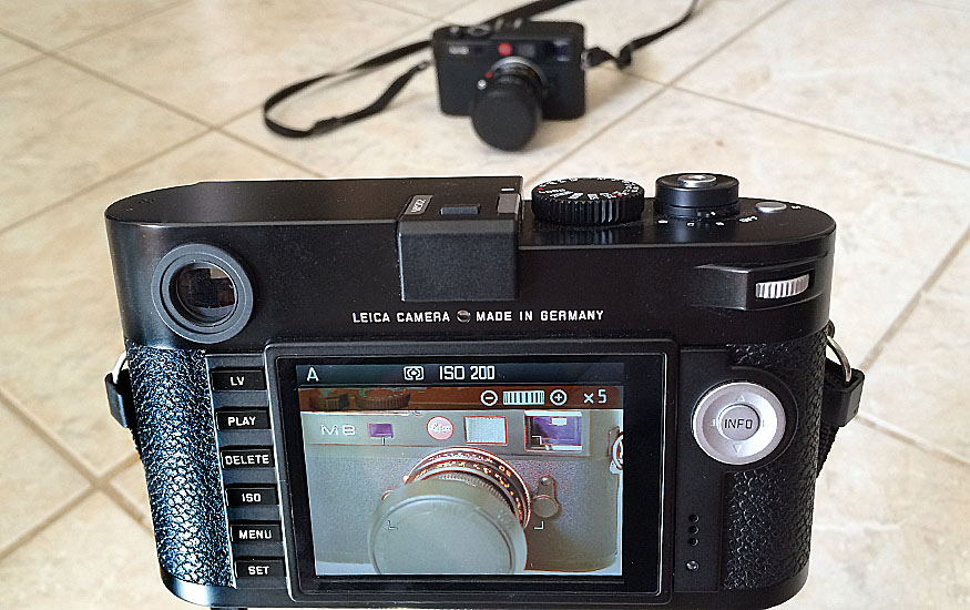 Leica M Live View. Notice Red outlines that indicate focus.