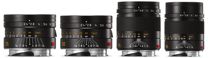 Leica Summarit Line, 35mm, 50mm, 75mm, 90mm