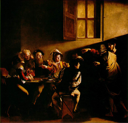 """The use of light to dramatically illuminate is """"almost"""" about light - Caravaggio here in full chiaroscuro glory"""