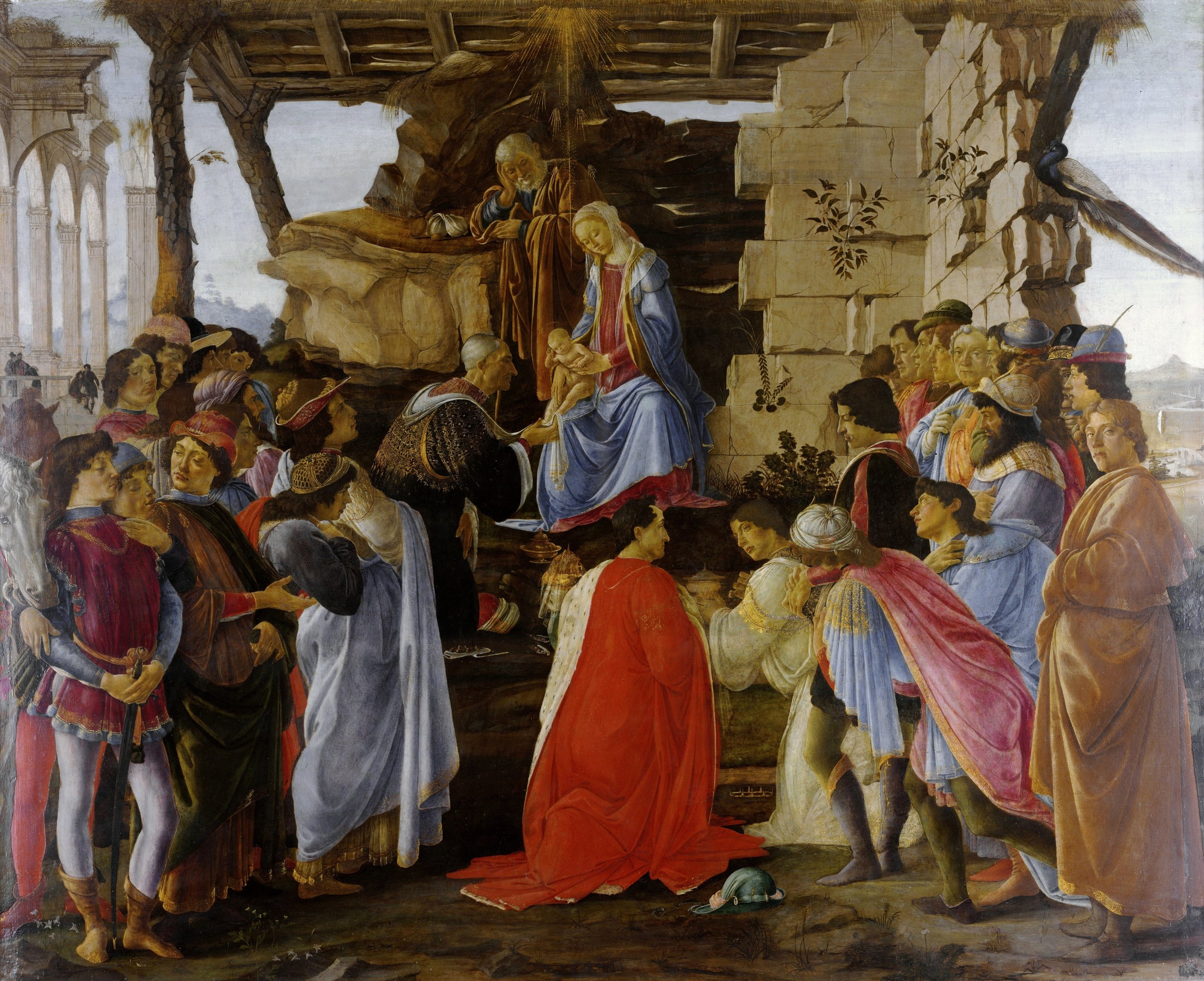 """Botticelli's """"Adoration of the Magi"""", where Cosimo de Medici is pictured washing the feet of baby Jesus. This picture could have been called """"The Adoration of the Medici"""" (as Niall Ferguson observed in """"The ascent of Money"""")"""