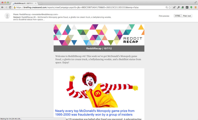 RedditRecap email from October 2012