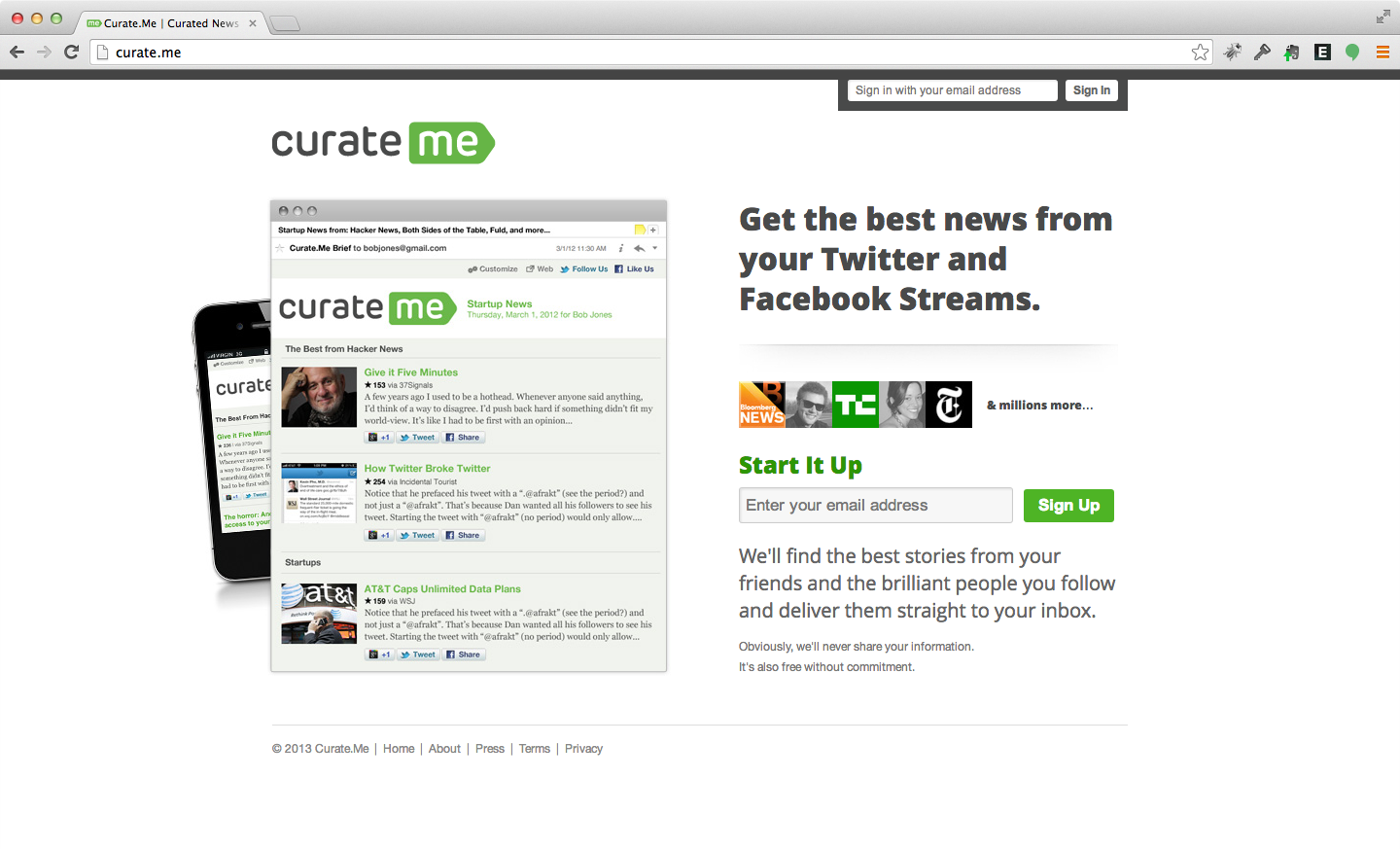 Curate.me - Personalized, daily email newsletter including content from people you follow on social.