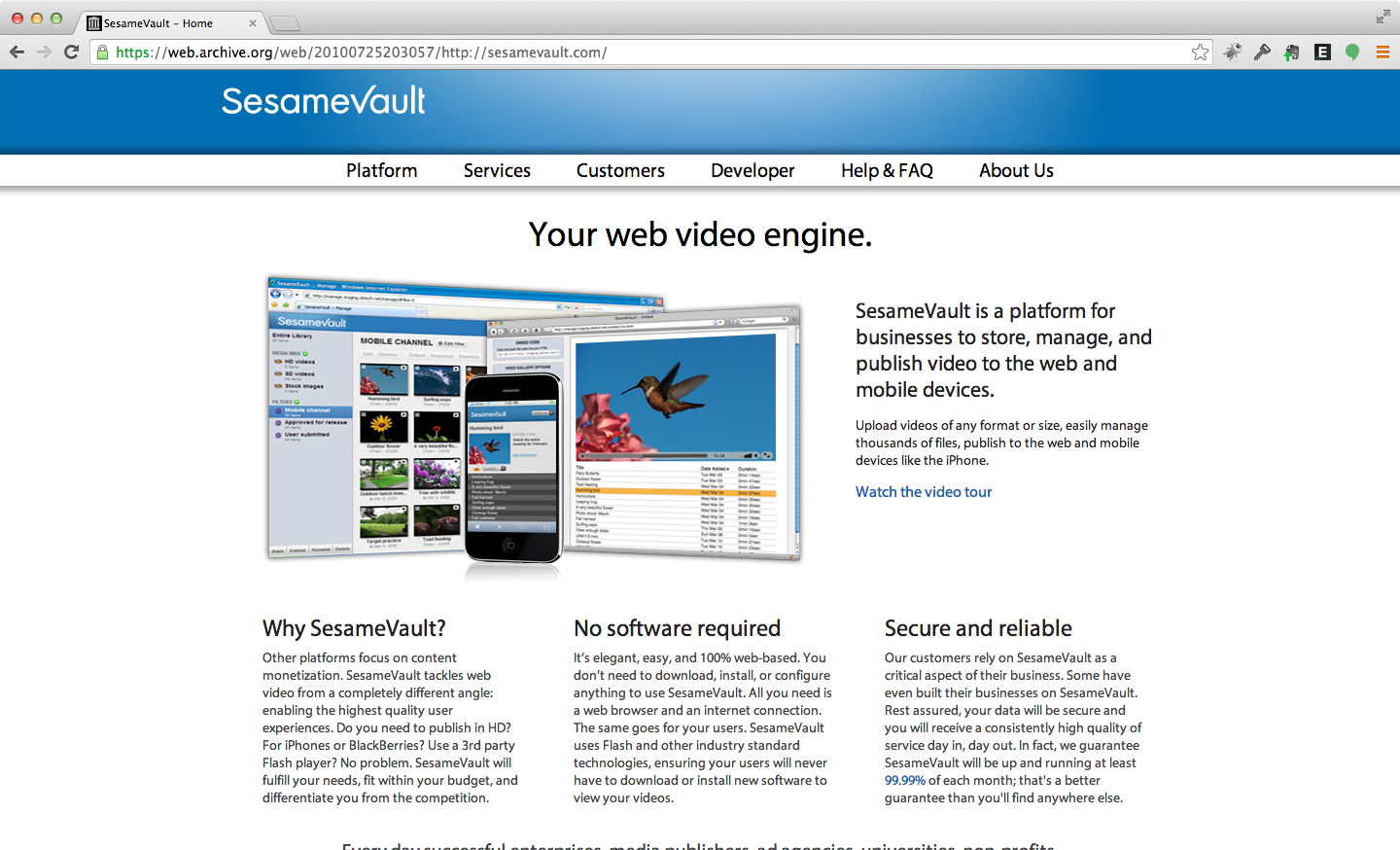SesameVault - Web video storage, management, and streaming tools.
