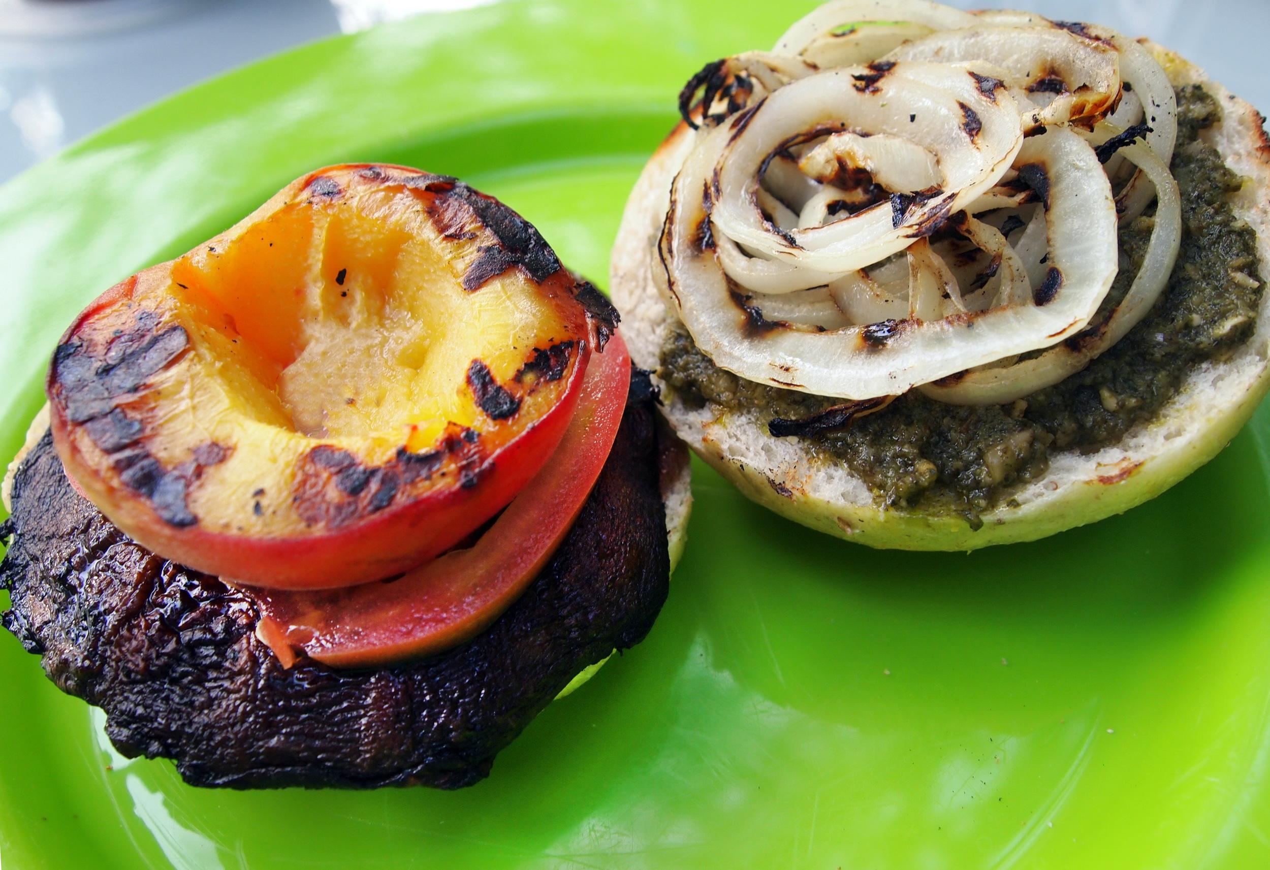 Grilled Portobello Peach Sandwich